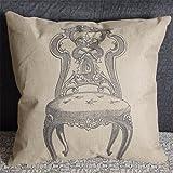 Luxbon Vintage Stuhl Kissenbezug Lendenkissen Wurfkissen Pillowcase Cafe Haus Zimmer Auto Deko 45 x 45 cm