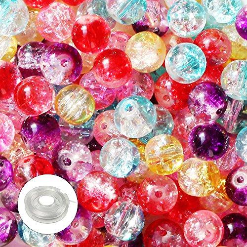 JPSOR 250 Stück 8mm Rund perlen gesprungen Glasperlen zum basteln, 1 Rolle Perlenfaden mit Federkraft für Schmuckherstellung und 1 Vliesstoffsbeutel Glasperlen