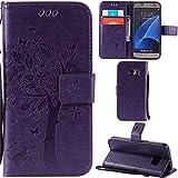 Ooboom® Samsung Galaxy S7 Coque Motif Arbre Chat PU Cuir Flip Housse Étui Cover Case Wallet Portefeuille Support avec Porte-cartes pour Samsung Galaxy S7 - Violet