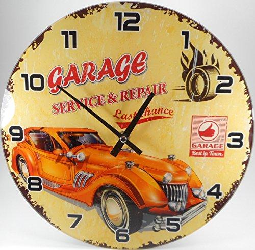 Wanduhr Garage Service Repair Oldtimer 30 cm Motorrad Glas Uhr Deko GOR 3218 B