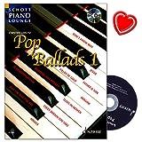 Pop Ballads Band 1 - Songbook für Klavier mit CD - Auswahl von 16 beliebten und leicht zu spielenden Balladen - mit bunter herzförmiger Notenklammer