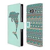 Head Case Designs Delfin Gemustert Tiere Silhouettes Brieftasche Handyhülle aus Leder für Samsung Galaxy Grand Prime
