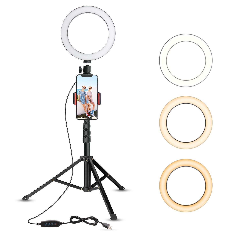 Luz de Anillo luz de Anillo LED Regulable con Soporte para c/ámara de Maquillaje en Vivo de 6 Pulgadas