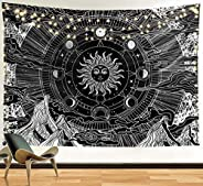 Funeon Sun and Moon Tapestry   Black and White Dorm Tapestries Wall Hanging for Teen Girls Boys Room Decor   C
