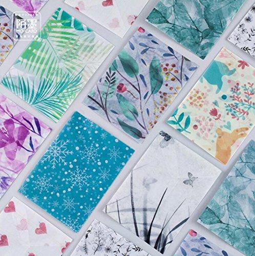 hemalll 15, mit 20fadensiegelung Sticker Pack Floral Fruits Umschlag Pergament Papier Foto-Postkarte Lesezeichen Karte Aufbewahrungstasche Q104 (Pergament-foto-papier)