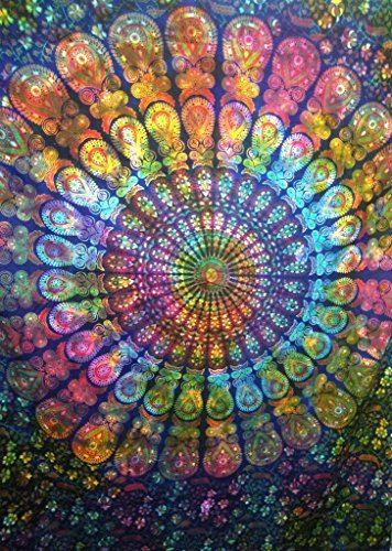 Tie Dye Mandala Wand Wandteppich, indische Baumwolle Bettwäsche Single, Bohemian, zum Aufhängen Boho Picknick Werfen, Hippie Schlafsaal, Zimmerdekoration Gypsy Beach Decke (Dye Neue Baumwolle Tie)