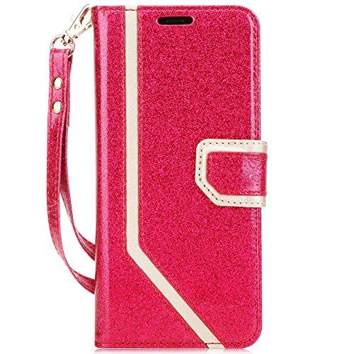 fyy iPhone X Case, iPhone X Wallet Case, [RFID-blockierender Wallet] [Make-up Spiegel] Premium PU Leder iPhone X Edition (2017) Wallet Tasche mit Kosmetikspiegel und Handschlaufe, X-Bling-Magenta+Gold