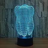 ZxTL Optische Illusion Lampe Zähne 3D Effekt LED Night Light 7 Farbe Ändern Kreatives Geschenk Startseite Dekoration USB Touch Schreibtisch Lampe