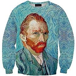 YICHUN Women Girls Tops Leisure T-Shirt Thin Sweatshirts Blouse Print Pullovers Sweater Casual