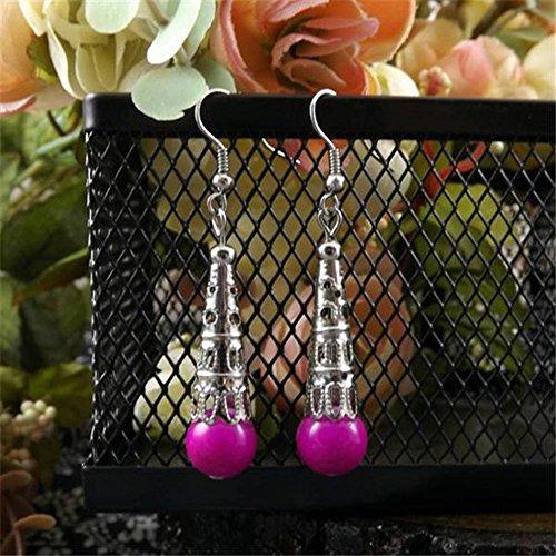 Thumby Weinlese-Ethnischer Handgemachter Schmuck Weinlese-Tibetanische Dekorative Tropfen-Ohrringe Ohrringe Zubehör, Rose rot