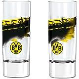 Borussia Dortmund Vaso con la imagen de la tribuna sur, Unisex, Negro/Amarillo, 2 piezas