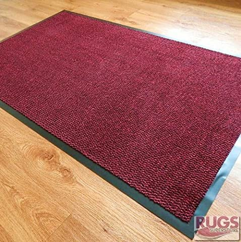 Small, Medium, Large, X-Large High Quality Deluxe Mats Brown, Grey, Cream, Blue, Red Machine Washable Entrance Door Mat suitable Kitchen doormats, entrance mats, washable mats, office mats, dirt trapper mats, dust mats, Dust control doormats, barrier mats, floor mats, dust control floor mats. These rubber edge anti-slip floor mats are among the best dust trappers mats and can be used at office reception, restaurants, food shops, takeaways, barber shop, post offices and off licence shops. (Red,