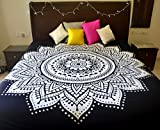 #10: Folkulture Black White Double Bed Mandala Cotton Bedspread Cover, Indian Queen Size Bohemian Bedsheet Set for Bedroom Decor, Hippie Ombre Tapestry Wall Hanging