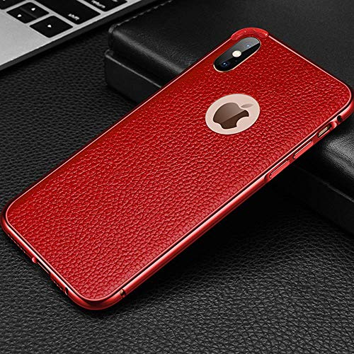 Leder-Metallrahmen Handyhülle für iPhone X XR XS MAX Schutzhülle iPhone 7/8 Plus Hülle Apple iPhone 7/8 Anti-Scratch Shock Absorption Handyhülle für iPhone, iPhone X, rot