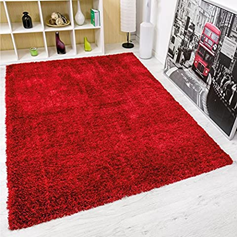 Moderner Hochflor Maxi Shaggy Teppich Polyester mit Glitzer Farbe in Rot – VIMODA; Maße: 80x150 (Teppich Rot)