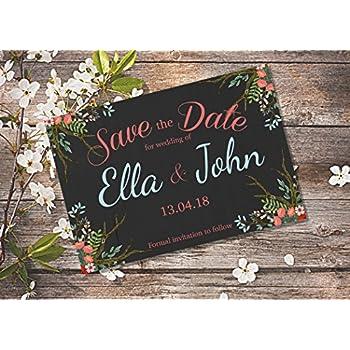 LAUBLUST 100 Personalisierte Einladungskarten zur Hochzeit Floral Save The Date Karten aus Holz mit Magnet