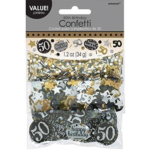 Amscan 3601913 Tüten Konfetti * 50. GEBURTSTAG - SPARKLING * für eine Party mit 34 Gramm Inhalt Gold und Silber (Weihnachten Papier Geschirr)