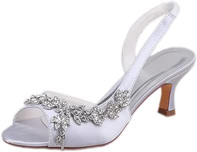 Emily Bridal Scarpe da Sposa Peep Toe Perle Strass Scarpe da Sposa Donna Tacchi Alti
