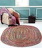 Jaipur Textil Hub Handgeflochtene Baumwolle Chindi + Jute-Mix Oval Teppich Mehrfarbig Füße Oval Baumwolle Chindi + Jute Mix Teppich, Multi, Size - 4 x 6 Feet Oval