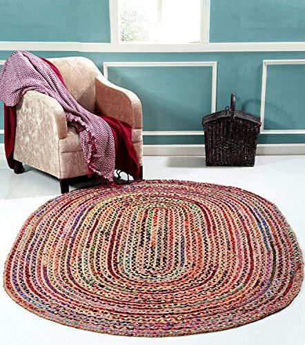 Ovaler Teppich, Baumwolle, Jute, handgeflochten, 60 x 90 cm -