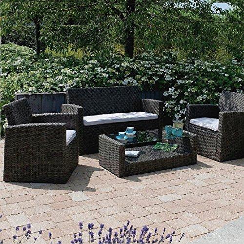 Loungegarnitur Gartenmöbel-Set Stahlrohrgestell Polyrattangeflecht Lounge-Gruppe