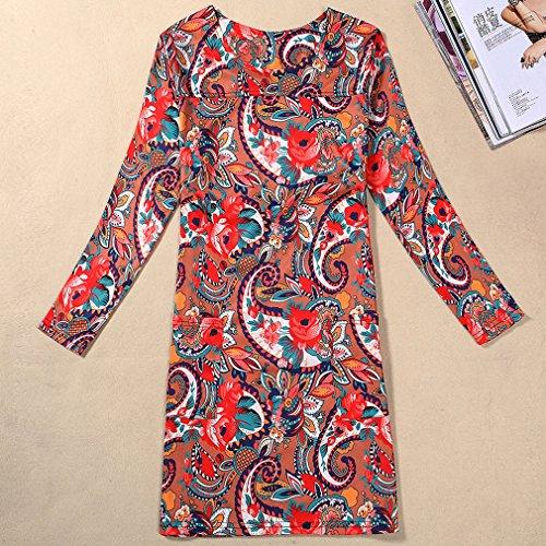 Honghu Damen Regular Lange Ärmel Hals Kleid Schlank Knielang Printing Dress Khaki