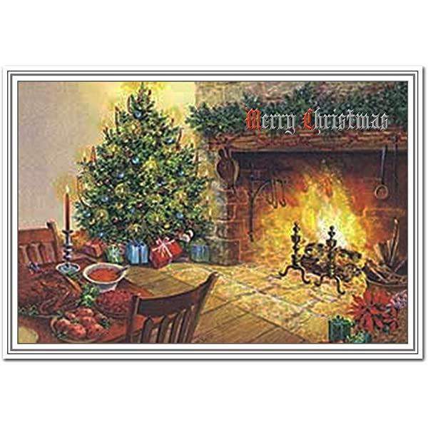 Fireside Christmas Card Vintage Old Fashioned 1900s Fire And Tree Theme Victorian Edwardian Era Style Traditional Merry Xmas Wishes Greeting Blank Inside To Write Own Message Amazon Co Uk Office Products