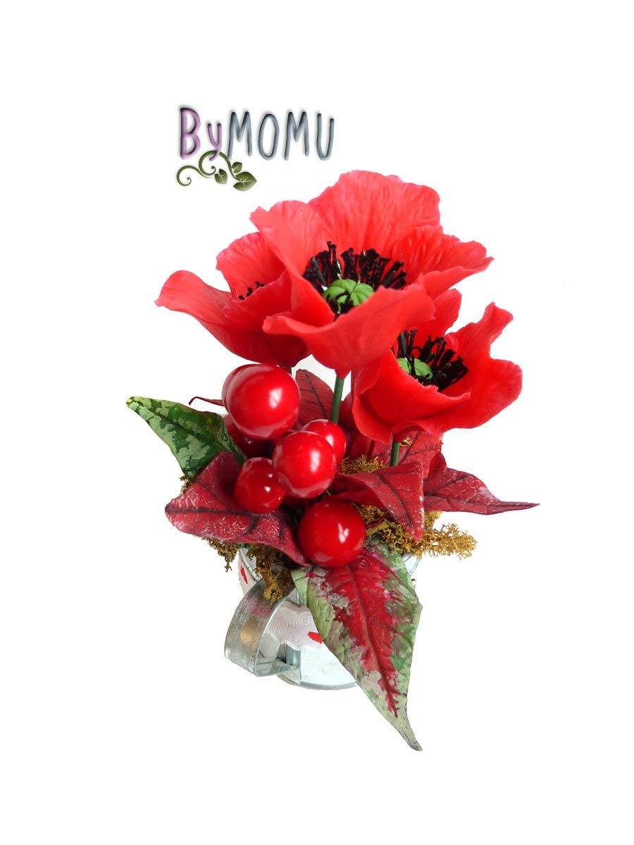 Flores de Porcelana Rusa Miniatura AMAPOLA Home Decor regalo – HAND MADE