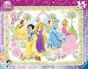 Ravensburger - 06344 - Puzzle Enfant avec Cadre - Princesses Disney - Les Princesses au Jardin  - 30 Pièces