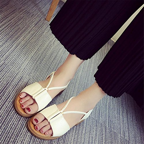 LHWY Damen Schuhe Bohemia Flat shoes Sandalen Schuhe Weiß