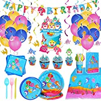 ‏‪Shark Party Supplies Set & Tableware kit - Perfect for Birthday Party Decorations - Includes Plates, Napkins, Cups, Straws, Cutlery‬‏