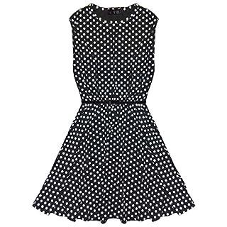 A2Z 4 Kids Girls Skater Dress Kids Spotty Print Summer Dress - Black - 11-12