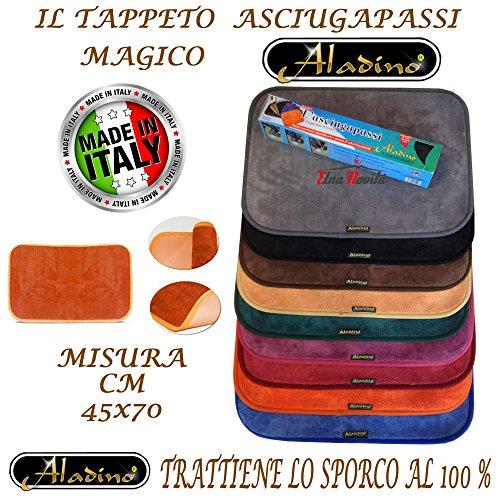 etnanovita' Tappeto Magico ALADINO 45x70 CM 10 Colori Antiscivolo Microfibra,Zerbino,Lavabile (Marrone)