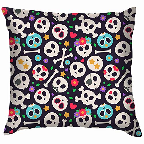 vintage cap Skull Set Flat Design Halloween Holidays Throw Pillow Case Cushion Cover Pillowcase Watercolor for Couch 18X18 Inch (Halloween Vintage Holiday Graphics)