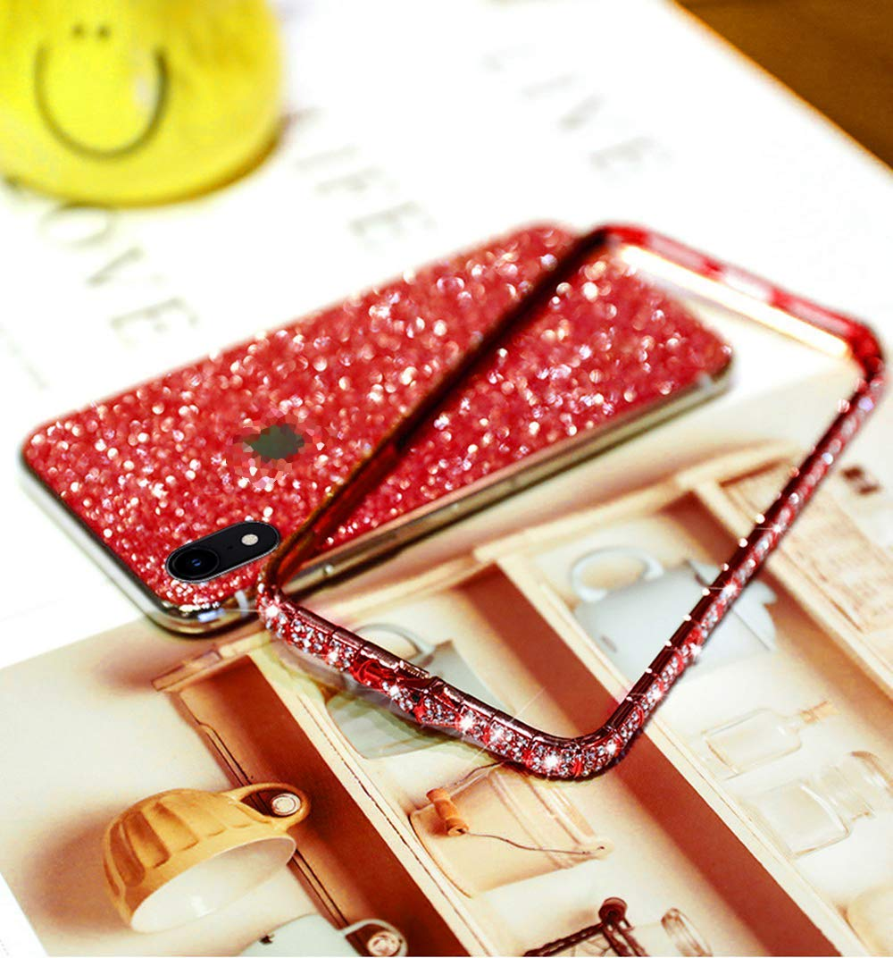 Uposao Compatible with iPhone XS Max Case Glitter Sparkly Bling Case for Girls Women Shiny Diamond Rhinestone Metal Bumper Frame Glitter Sticker Case Cute Fashion Case,Red Uposao Compatible Model: iPhone XS Max Made of independent bling back sticker and hard aluminum alloy bumper frame, sleek and elegant. Pretty bling artificial diamond on the frame and shiny back sticker make your phone different and eye-catching. 3