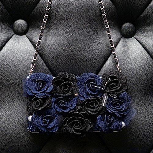 spritech (TM) Fashion Frauen Elegant Blau Roses Decor Case Luxus PU Leder Wallet Case Flip Cover Mit Gurt, Style-2, Samsung Galaxy S4 I9500
