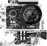 Action Camera ZONKO 4K Ultra HD WIFI Sports Camera 12MP 170 Degree Wide-Angle Lens 30M Waterproof Camera for Scuba Diving Snorkeling Include 19 Accessories Kit
