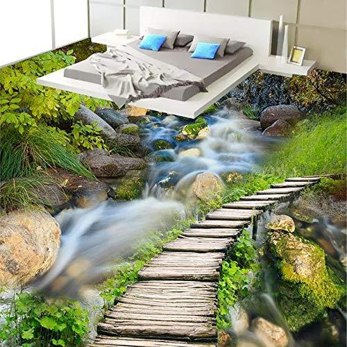 Papel De Parede 3D Paisagem Chinesische Klassische Holzbrücke Stream Fototapete 3D Bodenfliesen Küche Bad Vinyl Wandbild-400 * 300cm