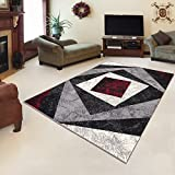 Tapis Moderne Design Carré Beige Rouge Differentes Dimensions (180 x 250 cm)