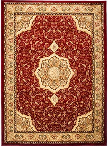 Perserteppich - Rot Creme - Traditioneller Klassischer Orientalischer - Teppich Für Ihre Wohnzimmer Esszimmer - Orientalisches Geblumtes Muster - Konturenschnitt Blumen Ornamente Mandala 3D-Effekt