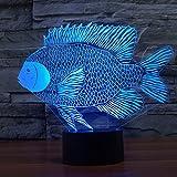 Pescado Ilusiones ópticas 3D Lámparas LED, FZAI Increíble 7 cambios de colores táctil botón noche luz de la noche con 150cm cable USB decoración del hogar