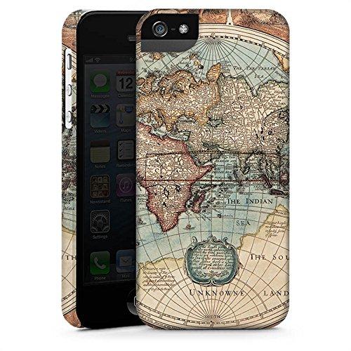 Apple iPhone 6 Hülle Case Handyhülle Vintage Weltkarte Karte Map Premium Case StandUp