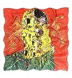 Prettystern P575 90cm Stampa Artistica Panno Pittura Art Nouveau Sciarpa di Seta Fazzoletti da testa Gustav Klimt - Bacio/Rosso