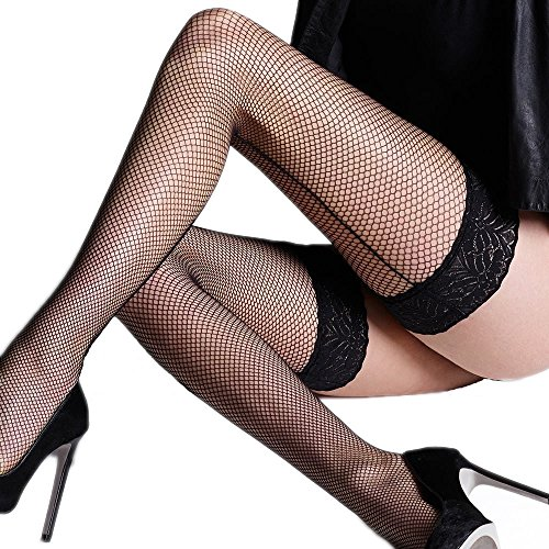 Fishnet Backseam Lace Top Hold Ups By Sentelergi ,Various Colours,Sizes S,M,L,XL