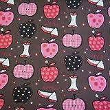 Stoff Meterware Baumwollstoff Apfel braun pink kariert