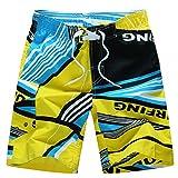 Pantaloncini da Bagno da Spiaggia da Surfe Pantaloni Corti da Nuoto Outdoor Casual Pantaloncini Boxer Estivi Calzoncini da Mare Bermuda Costumi da Mare per Uomo - Giallo - Taglia 4XL