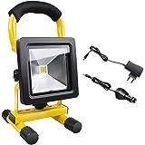 Projecteur LED Rechargeable, Morpilot Lampe de Chantier 10W 700 LM 5500K Lumière Fort Équivalent à Halogène 50W, Lampe Atelier étanche IP65 (Chargeur Voiture, Adaptateur Secteur Inclus)