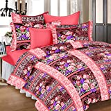 Ahmedabad Cotton Comfort 160 TC Cotton Double Bedsheet with 2 Pillow Covers - Peach, Purple and Brown