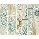 AS Creation Holzplatte Muster Tapete Küche Badezimmer Stammes- Motiv - Braun Grün 330892