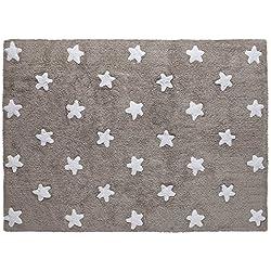 Lorena Canals–Alfombra para bebé (lavable lino estrellas/blanco)